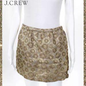 J CREW Gold/Silver Metallic Brocade Mini Skirt